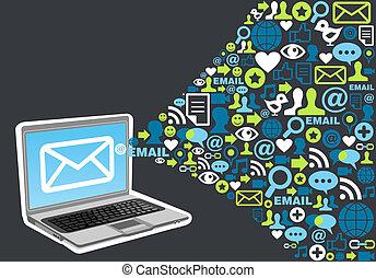 commercialisation, éclaboussure, concept, email, icône