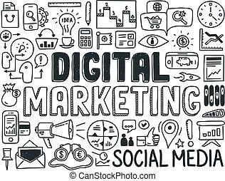 commercialisation, éléments, ensemble, numérique, griffonnage