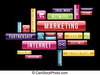 commercialisation, concept, internet, nuage, texte
