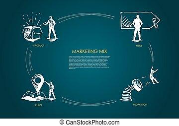 commercialisation, mélange, produit, coût, endroit, concept, promotion