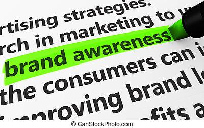 commercialisation, marque, concept, conscience