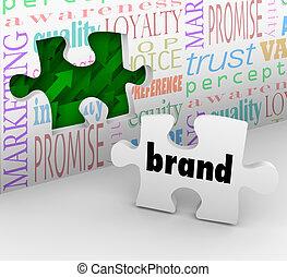 commercialisation, marque, puzzle, stratégie, réponse, morceau, complété
