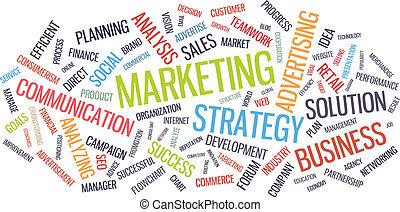 commercialisation, mot, business, nuage, stratégie