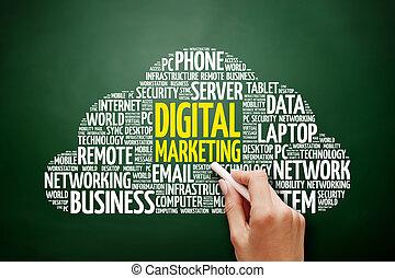 commercialisation, mot, nuage, numérique