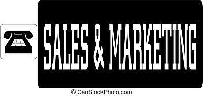 commercialisation, mot, ventes, illustration, vecteur