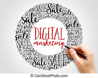 commercialisation, mots, nuage, numérique