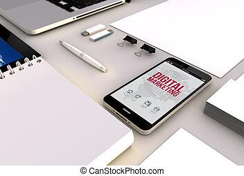 commercialisation, smartphone, bureau, numérique