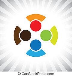 communauté, copains, aussi, jouer, amusement, employé, ouvriers, get-together-, gens, réunion, avoir, amis, vecteur, copains, enfants, &, diversité, graphic., boîte, gosses, unité, illustration, représenter, ceci