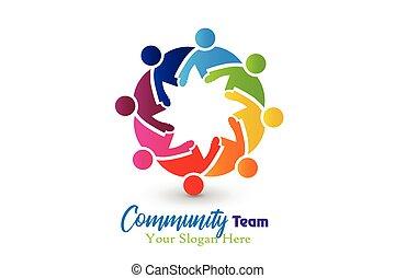 communauté, logo, vecteur, étreinte, collaboration