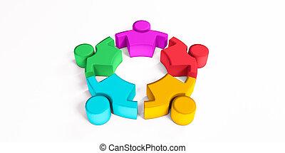communauté, render, illustration espace, amitié, copie, togetherness, 3d