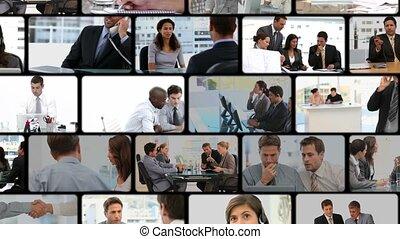 communic, affaires gens, montage