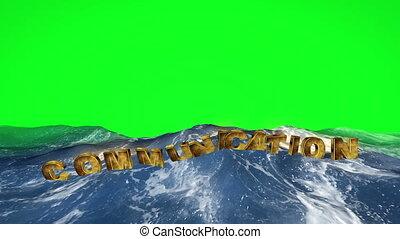 communication, écran, vert, flotter, texte, eau