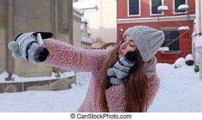 communication, amis, confection, photo, appeler, bavarder, vidéo, mobile, distance, téléphone, selfies, girl