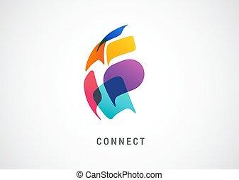 communication, concept, relier, gens, logo, parole, coloré, mondiale, réseau, bulles, conception abstraite