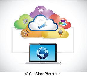 communication, connexion, informatique, ordinateur portable, réseau