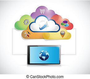 communication, connexion, réseau informatique, tablette