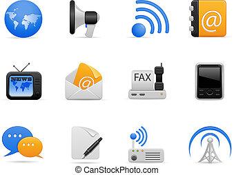 communication, ensemble, icône
