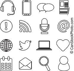 communication, ensemble, icônes