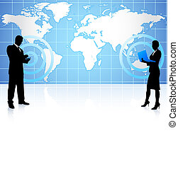 communication, global, homme affaires, femme affaires