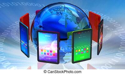 communication, global, informatique