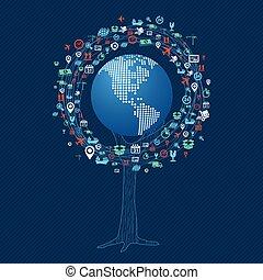 communication globale, concept, technologie, arbre