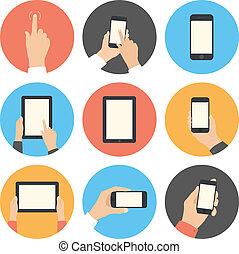 communication mobile, ensemble, plat, icônes