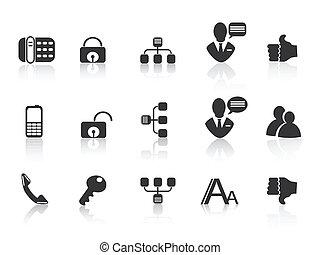 communication, noir, icônes