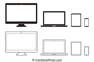 communication, outils, tablette, informatique, ordinateur portable, téléphone, bureau, mobile