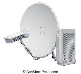 communication satellite, concept., accès, rendre, modem., internet, plat, 3d