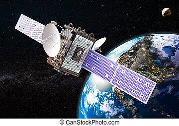 communication satellite, rendre, orbiter, la terre, 3d