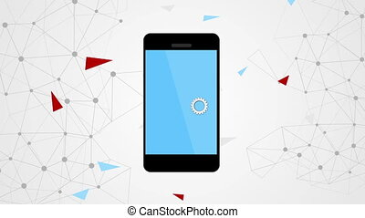 communication, smartphone, vidéo, engrenages, agrafe