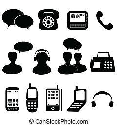 communication, téléphone, icônes