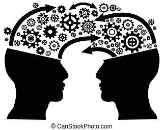 communication, tête, engrenages
