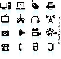 communication, technologie, éléments, conception