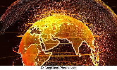 communications affaires, la terre, or, fond, technologie, 3d, rendre