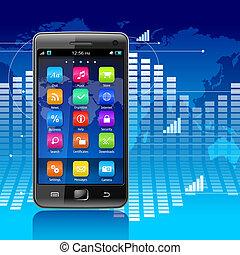 communications, mobilité, global, concept