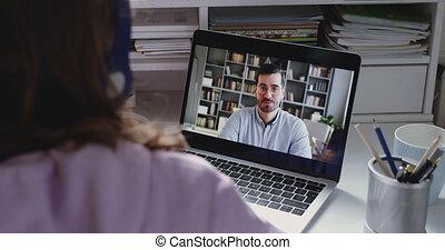 communiquer, girl, prof, étudiant, adolescent, webcam, ligne, école