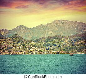 como, été, levers de soleil, lac, coloré