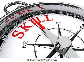 compétence, concept, mot, rouges, compas