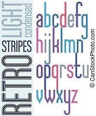 compact, condensed, lettres, affiche, minuscule, arrière-plan., clair, police, retro, lumière, rayé, blanc