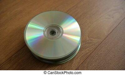 compact, discs., closeup, pile