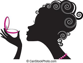 compact, femme, .make, puissance, cosmetic., haut, portrait