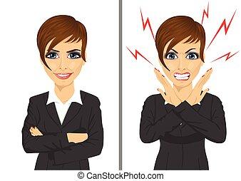 comparaison, femme affaires, fâché, même, entre, expressions, heureux