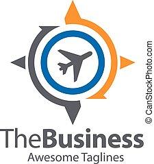 compas, globe, logo, avion, concept