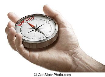 compass., sortie, plan., ou, tenue, homme, conceptuel, crise, stratégie
