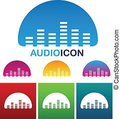 compensateur, audio, icône
