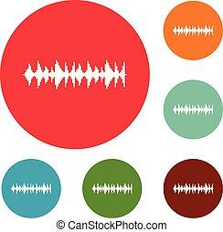 compensateur, ensemble, chanson, icônes, vecteur, cercle