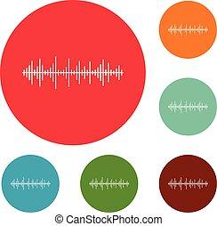 compensateur, ensemble, icônes, effet, vecteur, cercle