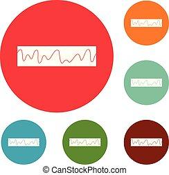 compensateur, ensemble, sonique, icônes, vecteur, cercle