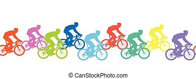 competition., silhouettes, pattern., seamless, cyclistes